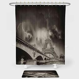 Eiffel Tower Shower Curtain And Floor Mat Combination Set St