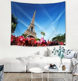 HVEST Eiffel Tower Tapestry,Blue Sky Tapestry Wall Hanging,R
