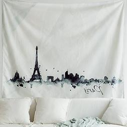 MIULEE Eiffel Tower Tapestry Black and White Watercolor Prin