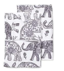 Casaba Elephant Hand Towels and Washcloth Set of 6 Ornate Gr
