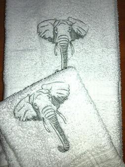 Embroidered Bathroom Hand Towel and Wash Cloth Set African G