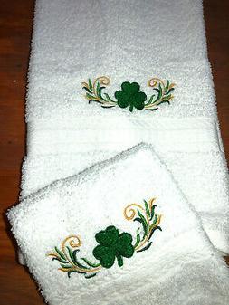 Embroidered Bathroom Hand Towel / Wash Cloth Shamrock Border