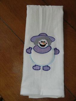 Embroidered Velour Hand Towel - Applique Grandma Snow Woman