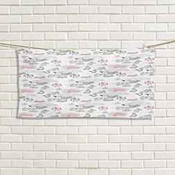 Ethnic,Hand Towel,Great Wall of China Folk Motif with Authen