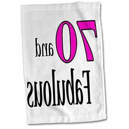 3dRose EvaDane - Funny Quotes - 70 and fabulous. Pink. - 15x