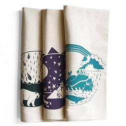 Set of 3 Explorer Bundle Pack Kitchen Tea Towels: Pacific, S