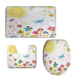 iPrint 3 Piece Extended Bath mat Set,Dragonfly,Summer Themed
