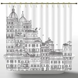 Fabric Shower Curtain by iPrint,European Decor,Hand Drawn It