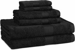 AmazonBasics Fade-Resistant Towel Set, Black 6-Piece Set - 1