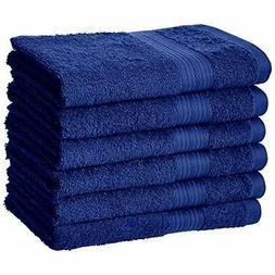 AmazonBasics Fade-Resistant Cotton Hand Towel - 6-Pack, Navy