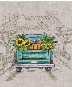 Fall Autumn Retro Truck SET OF 2 BATH HAND TOWELS EMBROIDERE