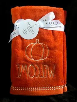RAE DUNN Fall Bathroom Hand Towels Welcome with Pumpkin NEW!