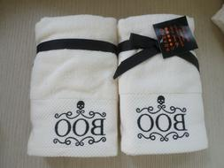 Casaba Fall Halloween Embroidered BOO Cream Hand Towels 2) N