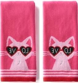 Love Cat 2-Pack Valentine Cotton Kitchen Bath Hand Towels, P