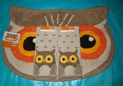 Fall Owl Bath Mat/Rug and 2 Hand Towels