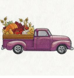 Fall Retro Truck SET OF 2 BATH HAND TOWELS EMBROIDERED BY LA