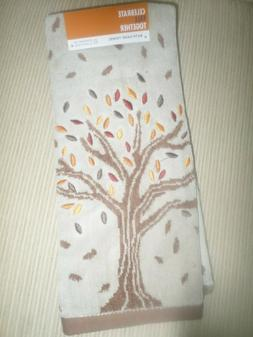 Fall Thanksgiving Halloween Tan Embroidered Tree Hand Towel