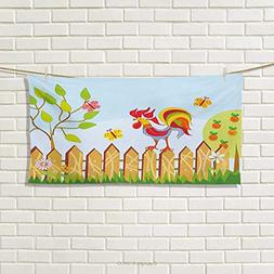 Chaneyhouse Farmland,Hand Towel,Border with Rooster Tree But