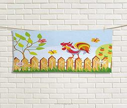Anniutwo Farmland,Hand Towel,Border Rooster Tree Butterfly F