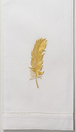 Henry Handwork Feather Gold Hand Towel