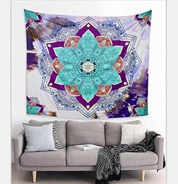 Felu Wall Decor Tapestries, Indian Mandala Flower Bohemian H