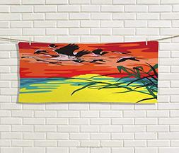 Anniutwo Flamingo,Hand Towel,Flamingos Flying in The Air Hor