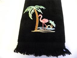 flamingo palm tree hand fingertip TOWEL black applique tropi