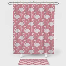 Flamingo Shower Curtain And Floor Mat Combination Set Exotic