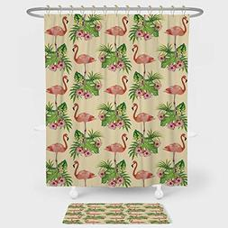 Flamingo Shower Curtain And Floor Mat Combination Set Flamin
