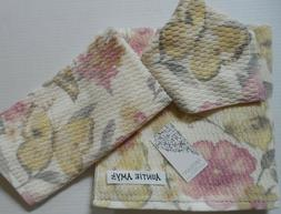 Artisan Floral Butterfly Bath Towels 3 Pc Set Yellow/Gray/Pi