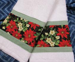 Floral fabric w/ Holiday Gingham Set  Fall Colors Custom Han