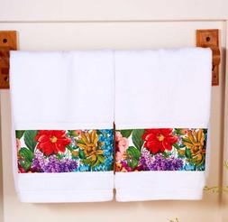 Floral Hand Towels Set of 2 Garden Bouquet Flowers Bold Mult