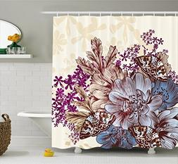 Ambesonne Floral Shower Curtain by, Hand Drawn Pastel Color