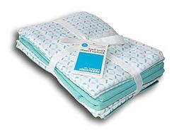 Room Essentials Flour Sack Kitchen Towel - Aqua Blue Pattern