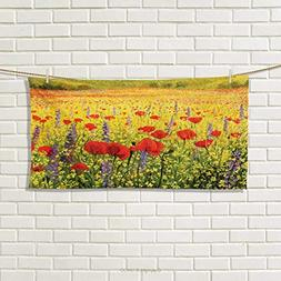 Chaneyhouse Flower,Hand Towel,A Colorful Field with Poppies