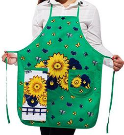 Flower & Butterfly Kitchen Apron Art Works Bib Aprons with P