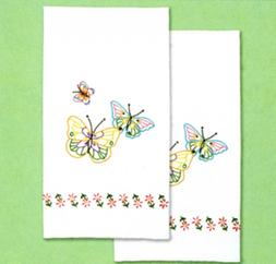 FLUTTERING BUTTERFLY HAND TOWELS EMBROIDERY PATTERN, from Ja