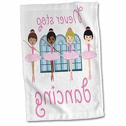 """3dRose Four Ballerinas with Pink Tutu Towel, 15"""" x 22"""""""