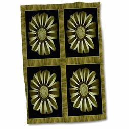 3dRose Four Green Striped Olive and Khaki Flower Petal Borde
