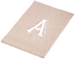 Mud Pie French Knot A Initial Towel Fingertip