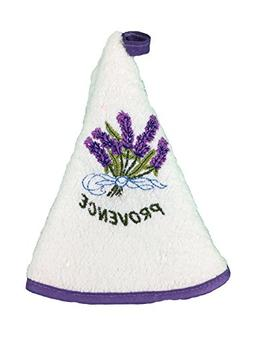 French Lavender Embroidered Round Terry Cloth Hand Towel - W
