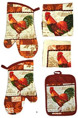 American Chateau French Rooster Kitchen 5 pc Linen Towel Set