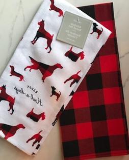 Fringe Kitchen Hand Towels Set Of 2 BUFFALO PLAID / DOGS New