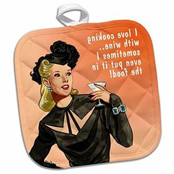 3dRose Funny Retro Girl-Cooking with Wine Potholder, 8 x 8