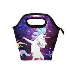 Naanle Funny Unicorn Insulated Zipper Lunch Bag Cooler Tote