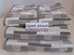 Geometric Striped Towels Greige/Gray/White/Beige~4Pc Set~2 B