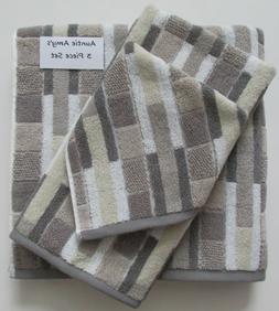 Geometric Striped Towels Greige/Gray/White/Beige~3Pc Set~1 o