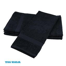 GHP Pack of 24 Black 16x27 Bleach Safe Salon/Gym/Spa Hand To