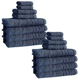 Barnum Collection 16 Piece Turkish Cotton Bath Towel Set, Bl