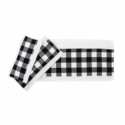 Gingham Black White Check Camille Country Cottage Bath Towel